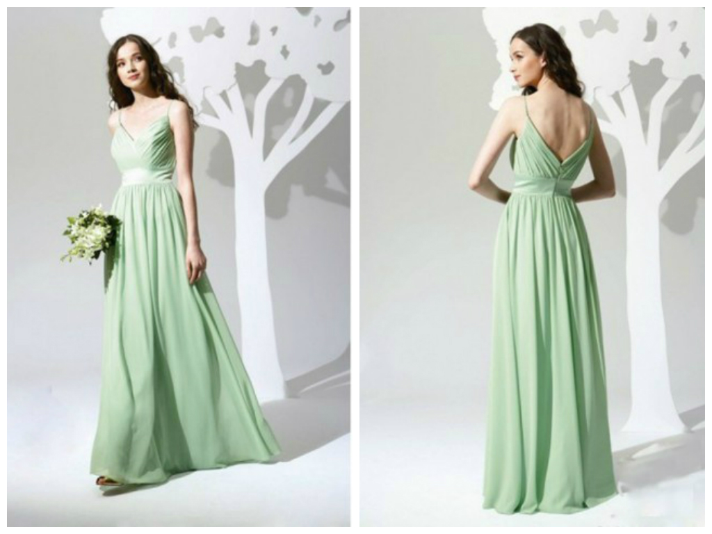 Bridesmaid dress custom made spaghetti straps sweetheart bridesmaid dress custom made spaghetti straps sweetheart neckline full length chiffon dress sage green available in various colors ombrellifo Gallery