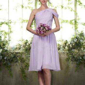 Custom Tailored Bridesmaid Dress -Unique One Shoulder Knee Length Chiffon - Choose Your Color